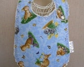 brown and gray bunnies -- boutique couture bib by lillybelle designs