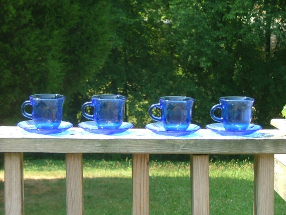 Fortecrisa Cobalt Blue Glass Cup Saucer 8 piece Serves 4