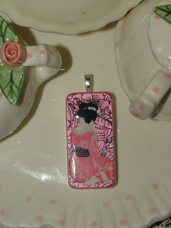 Pink Geisha Domino Art Pendant Necklace