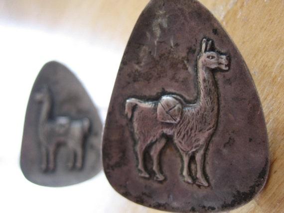 llama or Alpaca Peruvian Vintage Screw Back Earrings