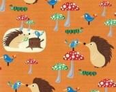 Clothworks Woodland Friends Hedgehogs on Orange - 1 Yd. Cotton Fabric