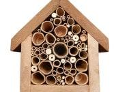 Bee Hotel, made using reclaimed materials and lovingly embellished with a pyrography bee.