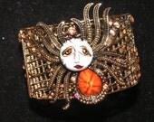 Tangerine SNOOKS Spider Bracelet Cuff by Brenda Miller