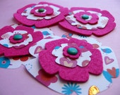 Scrapbook Embellishments set of 4 handmade paper and felt flowers---Sweet Bippys The Lovebirds Series