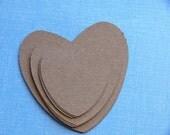 Scrapbook Embellishment set of 12 kraft die cut hearts