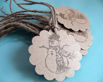 Handmade tag set of 10 Snowman Scallops