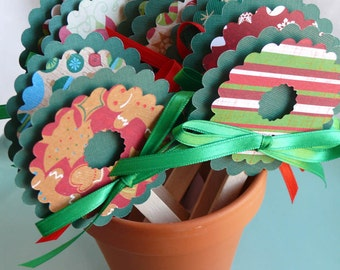 Christmas Cupcake Toppers  Wreaths