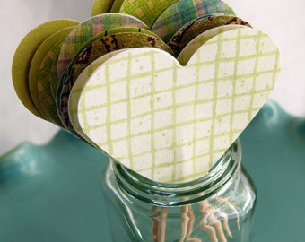 Heart Cupcake Toppers, Party Picks, Food Picks Green Hearts