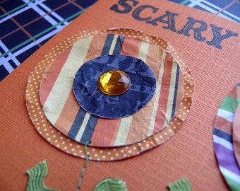 Handmade Halloween card and envelope---Scary Blossoms