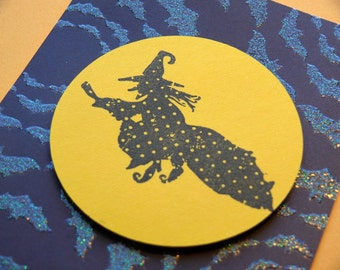 Handmade Halloween card and envelope---Witchy Moon