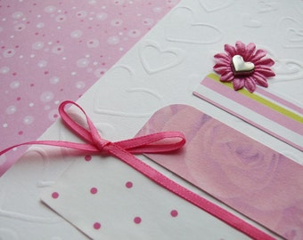 Handmade  Wedding card and envelope---Perfect In Pink