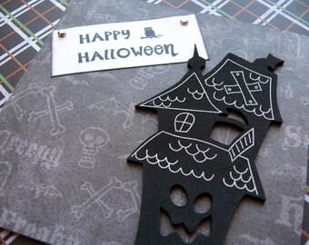 Handmade Halloween card and envelope----Haunted House