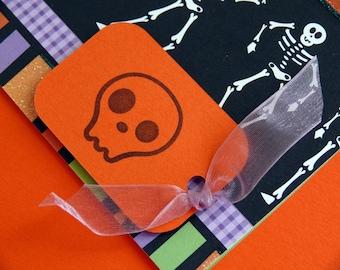 Handmade Halloween card and envelope  Dancing Skeletons