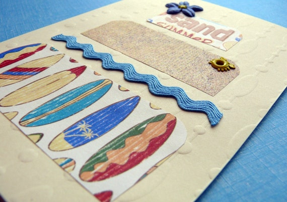 Handmade Beach  Wedding card and envelope---Paradise