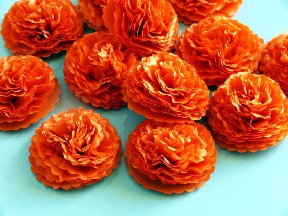 Button Mums Tissue Paper Flowers Bright Orange Wedding, Bridal Shower, Baby Shower Decor