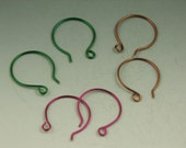 3 Pairs of Hand Crafted Colored Copper French Hoops