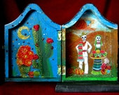 "Dia de Los Muertos  Day of the Dead  Holiday Coffin 7""  Handcrafted Inside and Out Paper Figures"
