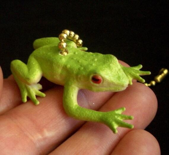 Fan Pull Tiny Green Tree Frog Figurine Ceiling Fan Pull