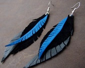 Leather Feather Long Earrings in Blue and Black