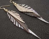 Metallic  Leather Feather Earrings in brown, silver and gold