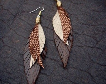 Strange Bird Feather Earrings Gold, Bronze and Brown Sparkly Leather Earrings