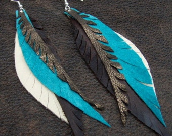 Leather Feather Earrings - turquoise, brown, sparkle and tan leather feathers