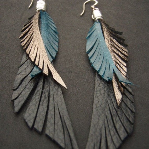 Blue, Black and Gold Leather Feather Earrings