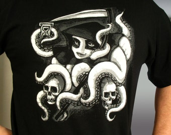 ReaperPuss the Death Squid Screen-Printed T-shirt Available in More Sizes