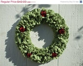 SALE Grinch Green Fleece Rag Wreath with Red Jingle Bells Cyber Monday Etsy