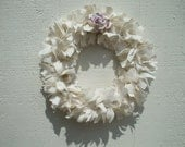Romance Rag Wreath Ivory Linen Fabric Lavender and Ivory Mulberry Paper Rose - RagWreathBoutique