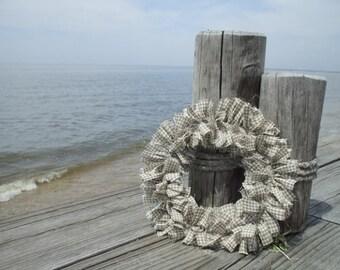 Taupe Rag Wreath Gingham Check Handmade Homespun Fabric