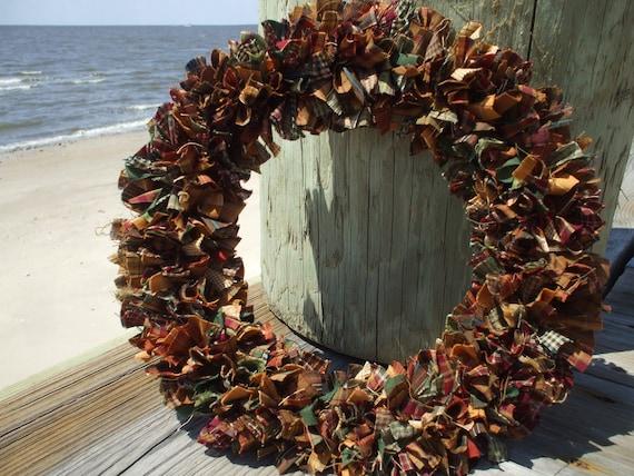 Happy Fall  Rag Wreath Homespun Fabric Burgundy Gold Green Brown OOAK
