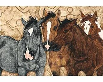 Wild Horses Print, Wild Mustangs, horse art, horse decor, horse gifts, western art, western decor, horse painting, Guardian Spirits