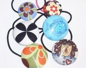 Sale - Set of Six Covered Button Ponytail Holders