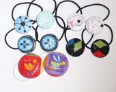 Sale - Set of Ten Covered Button Ponytail Holders