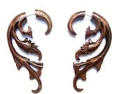 Breathless earrings - fake gauge. Sono wood (small)