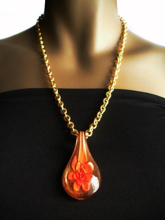 Floral Bouquet Glass Pendant Necklace