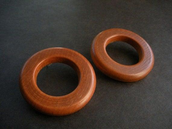 Massai Natural Wood Post Hoop Earrings