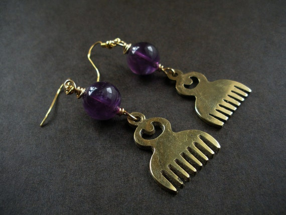Duafe Beauty African Amethyst Earrings