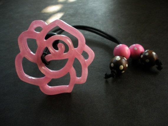 Pink Rose Natural Hair Tie Ponytail Holder Headband