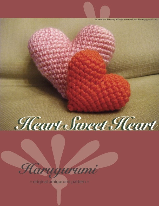Amigurumi Heart Tutorial : Amigurumi Heart PATTERN by harugurumi on Etsy