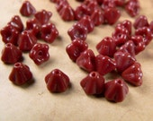 Red Czech Glass Bell Flower Beads Cranberry Opaque 4x6mm (25)