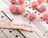 Vintage Austrian Glass Melon Beads - Coral Red and White (12)