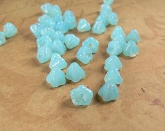Powder Blue Opal Czech Glass Baby Bell Flower Beads 4x6mm (25)