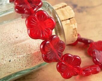 Ruby Red Flat Flower Beads, Czech Glass, 5 Petal, 14mm Beads (8)