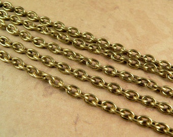 Vintage Chain, RAW Brass Cable, 4x5mm Open Links, 10 Feet
