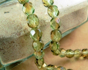 Green Czech Glass Beads Chrysolite Celsian Round Firepolished 6mm (25)