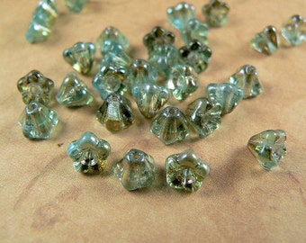Aqua Czech Glass Baby Bell Flower Beads Aquamarine Celsian 4x6mm (25)