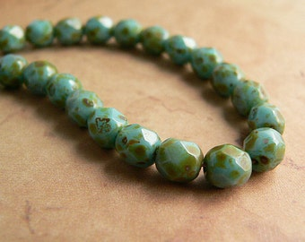 Turquoise Czech Glass Beads Opaque Round Aqua Green Picasso Firepolished 6mm (25)