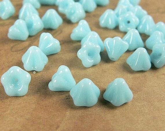 Czech Glass Baby Bell Flower Beads Opaque Aqua Turquoise 4x6mm (25)